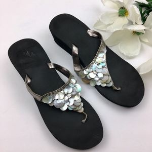 Shoes - Iridescent Mother of Pearl Wedge Sandals Size 9.5
